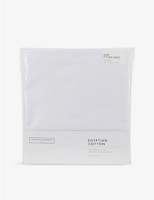 THE WHITE COMPANY: Egyptian cotton deep fitted double sheet 140cm x 190cm