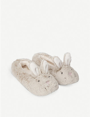 THE LITTLE WHITE COMPANY: Bunny-ear velour slippers