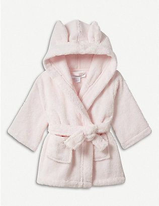 THE LITTLE WHITE COMPANY: Bunny ears cotton robe 0-12 months