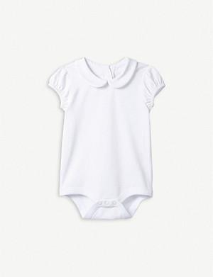 f55e1b68d97ec THE LITTLE WHITE COMPANY · Bubble sleeve stretch-cotton bodysuit 0-24 months