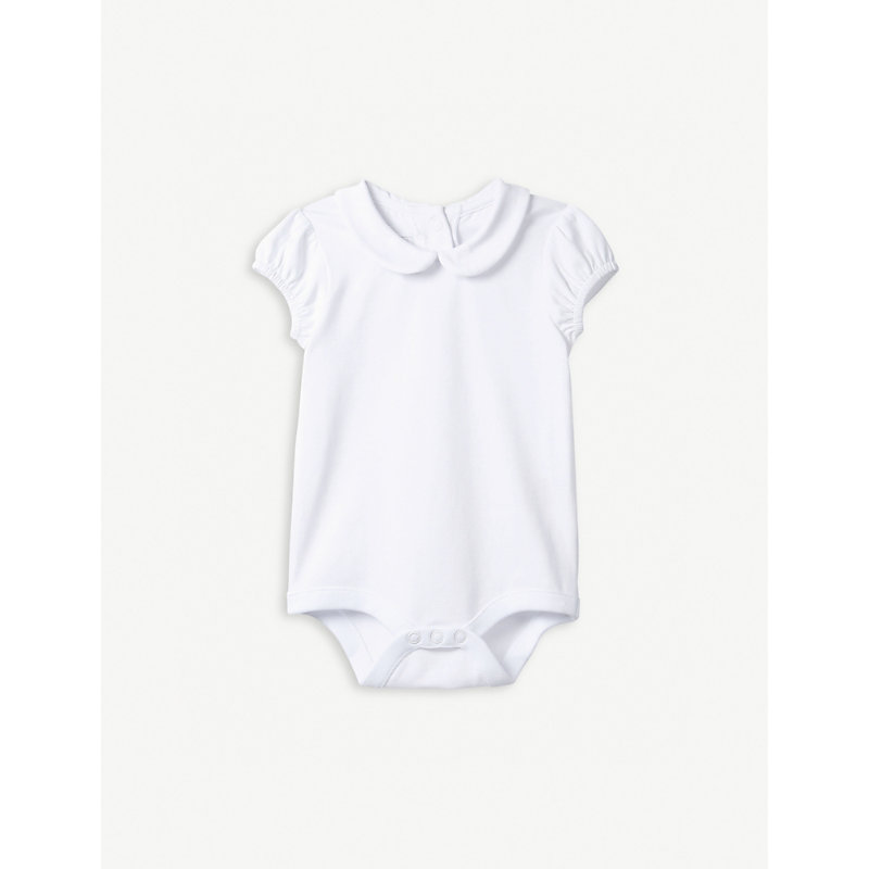 THE LITTLE WHITE COMPANY | Bubble Sleeve Stretch-Cotton Bodysuit 0-24 Months | Goxip