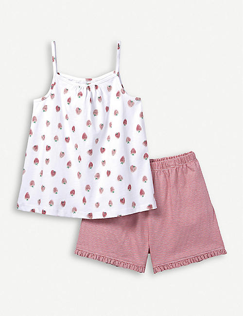 THE LITTLE WHITE COMPANY Strawberry cotton cami set 1-6 years