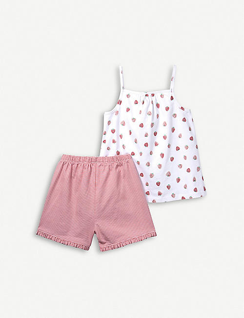 THE LITTLE WHITE COMPANY Strawberry cami set 7-12 years