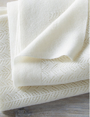 THE LITTLE WHITE COMPANY: Cashmere Christening blanket 100cm x 75cm
