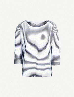 THE WHITE COMPANY Contrast-panel striped cotton-jersey top