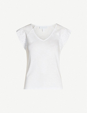 THE WHITE COMPANY Broderie anglaise-trim cotton-jersey T-shirt