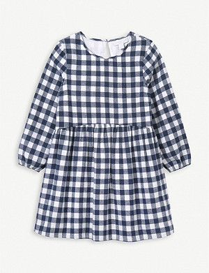 THE LITTLE WHITE COMPANY Checked cotton-flannel dress