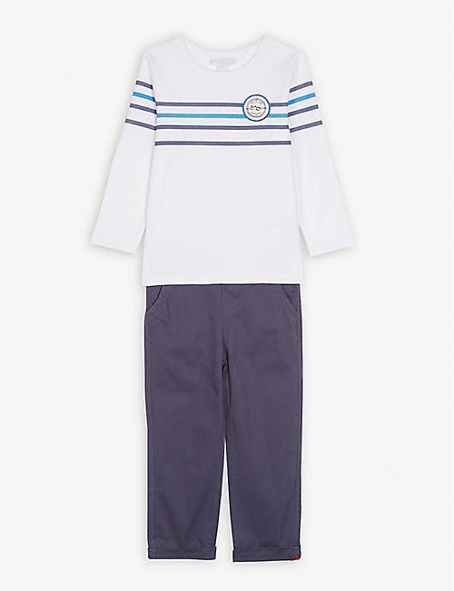 THE LITTLE WHITE COMPANY Flight school cotton T-shirt and chinos 1-6 years