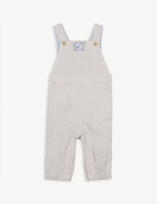 cf5310fde9 THE LITTLE WHITE COMPANY Charlie Bear dungaree and toy set 0-24 months