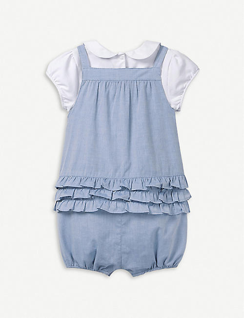 6372f5de3 THE LITTLE WHITE COMPANY Chambray cotton dungaree and bodysuit set