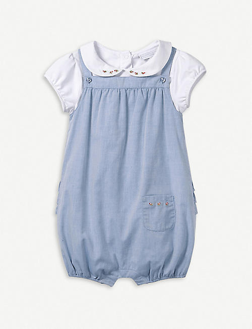 2708be32f THE LITTLE WHITE COMPANY Chambray cotton dungaree and bodysuit set