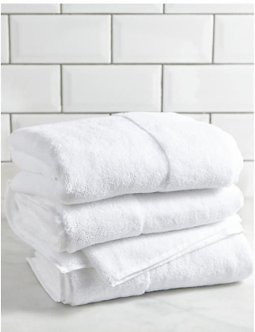 THE WHITE COMPANY Classic Double Border cotton bath towel 70cm x 125cm