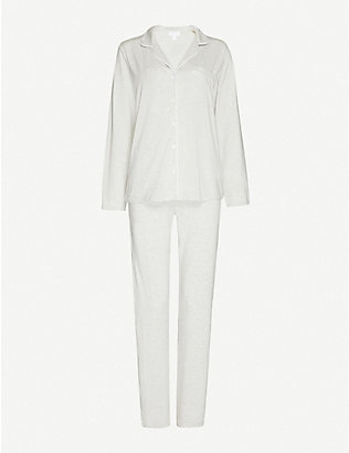 THE WHITE COMPANY: Classic button-up stretch-jersey pyjama set