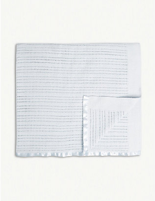 THE LITTLE WHITE COMPANY: Satin-edged cellular cotton baby blanket