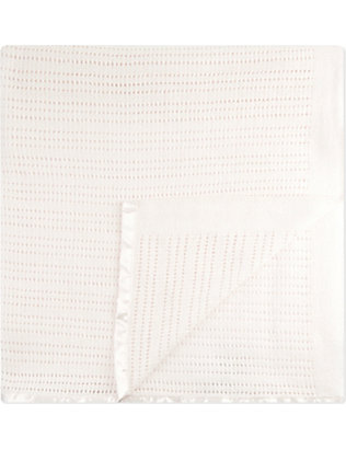 THE LITTLE WHITE COMPANY: Cellular cotton cot blanket