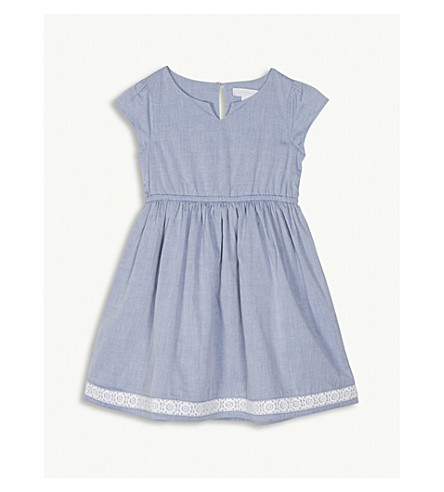 58f3104fa694 THE LITTLE WHITE COMPANY Chambray lace trim dress 1-6 years (Chambray