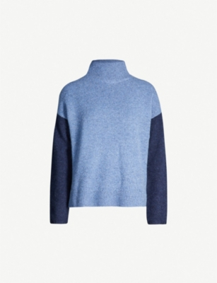 THE WHITE COMPANY Colour-block brushed waffle-knit jumper