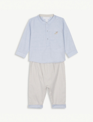 THE LITTLE WHITE COMPANY Corgi shirt and trouser set 0-24 months