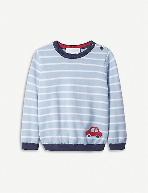 THE LITTLE WHITE COMPANY Striped car motif cotton jumper 0-24 months