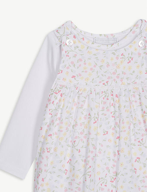 THE LITTLE WHITE COMPANY Delphine floral cotton dungarees and T-shirt set 0-24 months