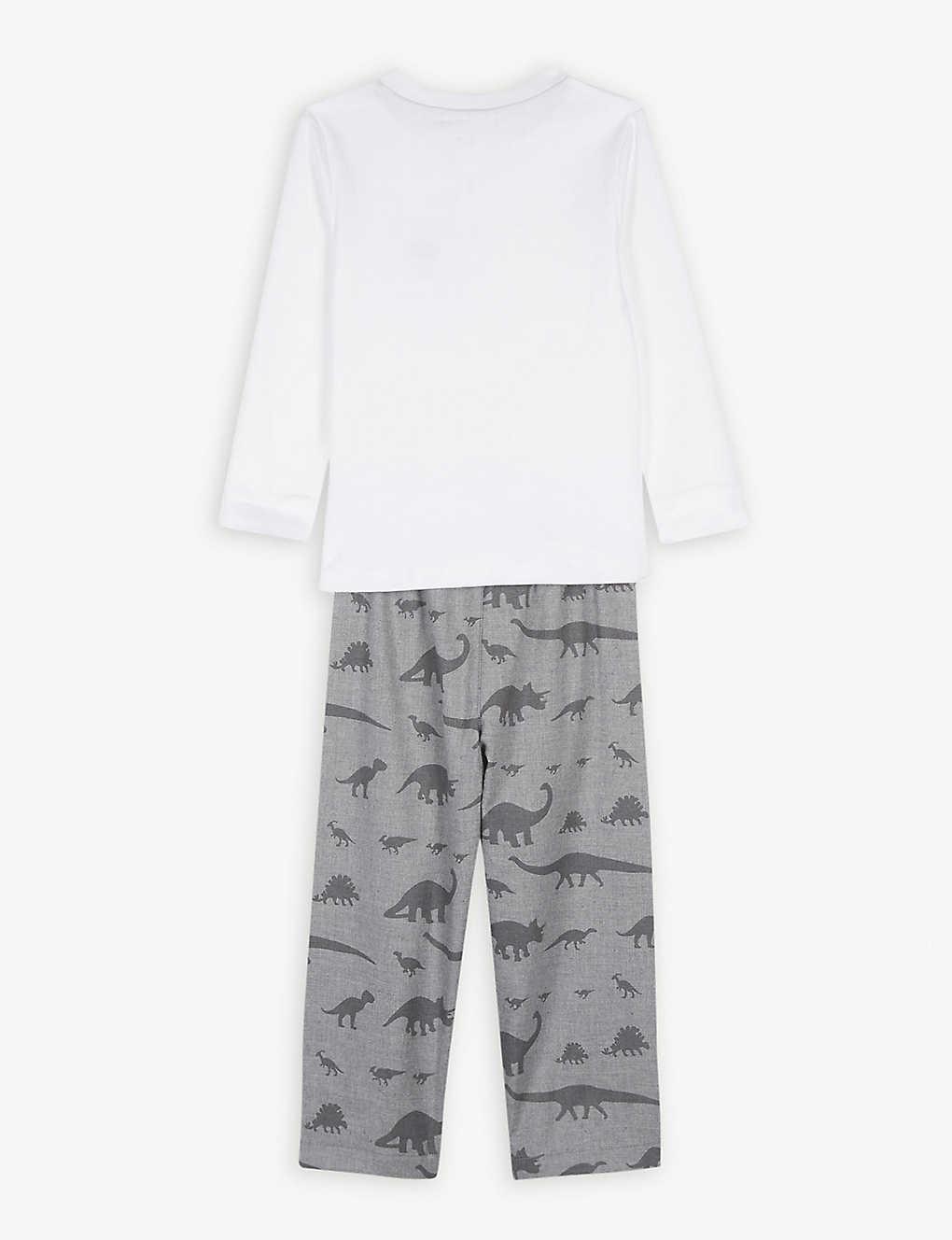 0ede29d3 THE LITTLE WHITE COMPANY - Dinosaur flannel pyjama (1-6 years ...