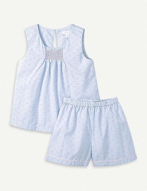 THE LITTLE WHITE COMPANY Embroidered smocked cotton pyjamas 3-24 months