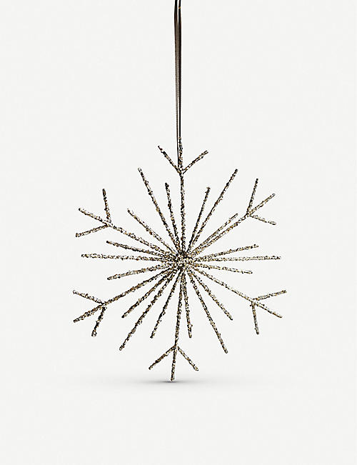 THE WHITE COMPANY Large glitter snowflake topper 26.7cm x 28.1cm