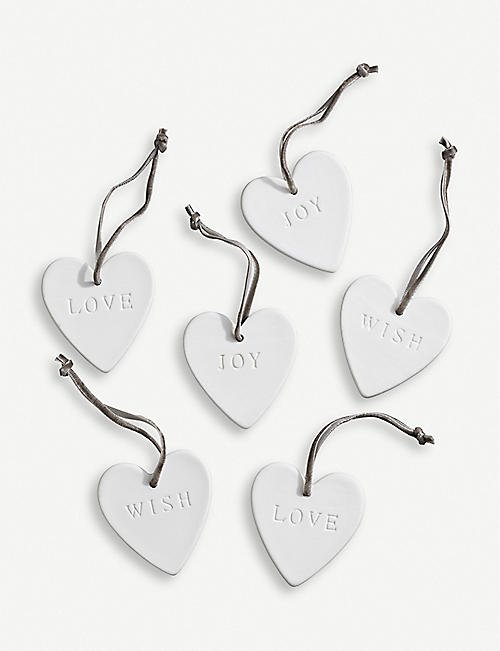 THE WHITE COMPANY Ceramic heart Christmas decorations set of six