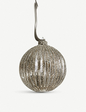 THE WHITE COMPANY Mercury ribbed glitter bauble 9cm