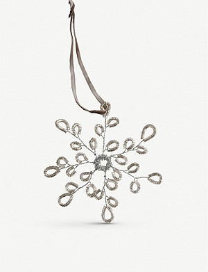 THE WHITE COMPANY Tinsel snowflake decoration 13cm