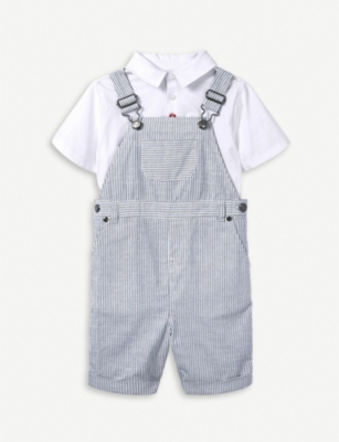 THE LITTLE WHITE COMPANY Ticking striped cotton dungaree set 1-6 years