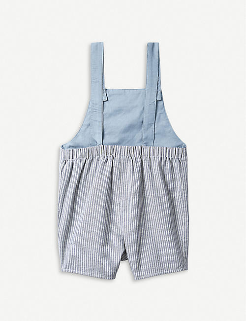 4103584ff THE LITTLE WHITE COMPANY Striped cotton dungarees & car toy 0-24 months