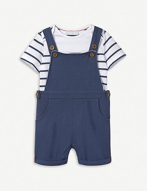 Bottoms Baby & Toddler Clothing New With Tags Next Short Blue/white Dungerees Age 9-12 Months Modern Techniques