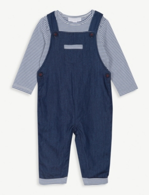 THE LITTLE WHITE COMPANY Chambray dungarees and T-shirt set 0-24 months