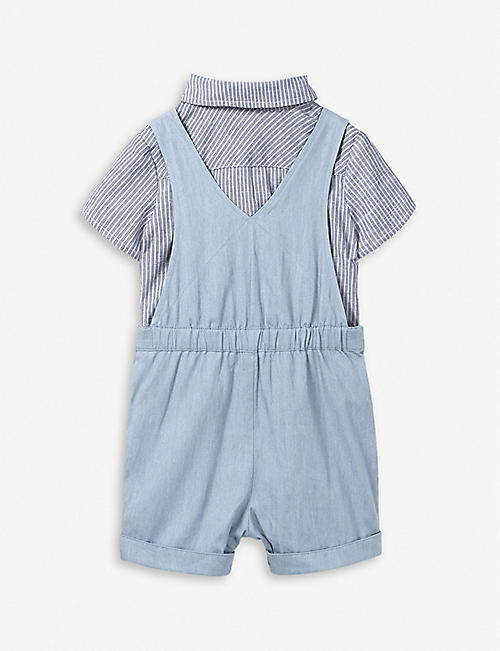 82813130 THE LITTLE WHITE COMPANY Striped cotton-blend dungaree and shirt set 0-24  months