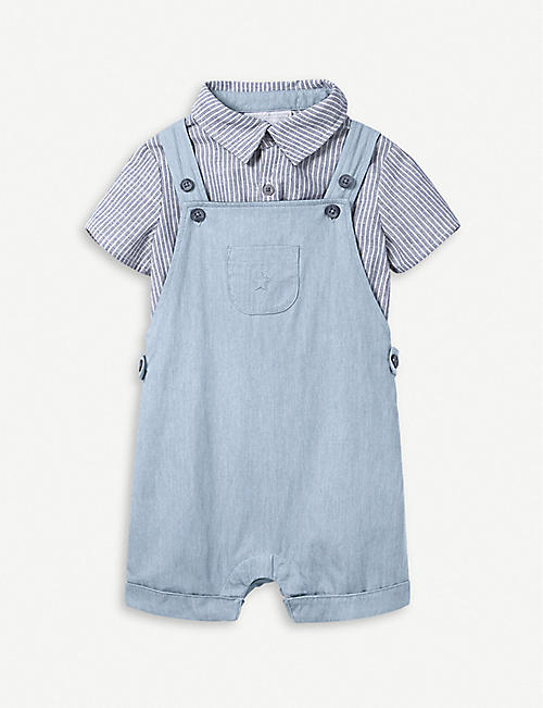 f9448f7918 THE LITTLE WHITE COMPANY Striped cotton-blend dungaree and shirt set 0-24  months