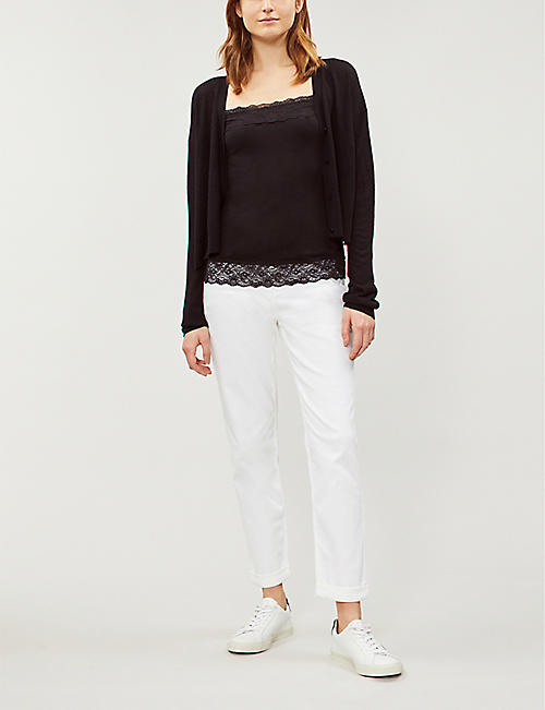 THE WHITE COMPANY Lace-trim modal-blend top