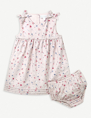 THE LITTLE WHITE COMPANY Ella floral print cotton dress and under shorts 0-24 months