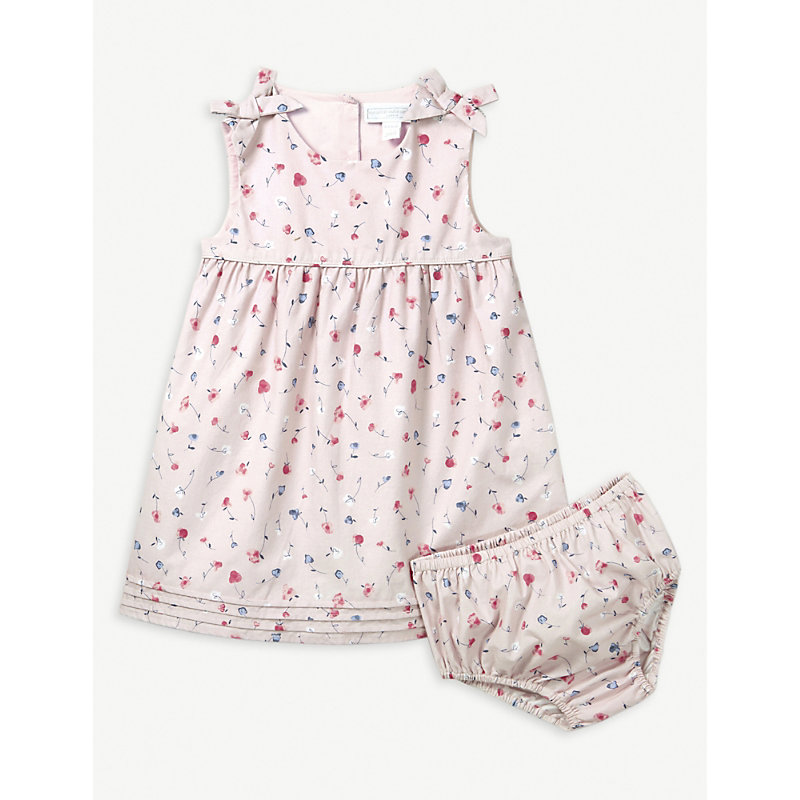 THE LITTLE WHITE COMPANY | Ella Floral Print Cotton Dress And Under Shorts 0-24 Months | Goxip