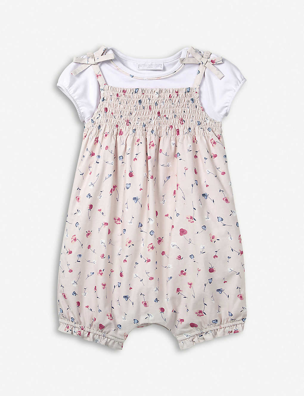 af91a6110cd15 THE LITTLE WHITE COMPANY - Floral-print cotton T-shirt and romper ...