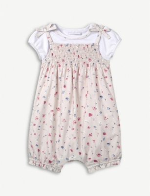 THE LITTLE WHITE COMPANY Floral-print cotton T-shirt and romper set 0-24 months