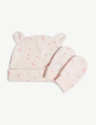 THE LITTLE WHITE COMPANY Floral print cotton hat and mittens set 0-12 months
