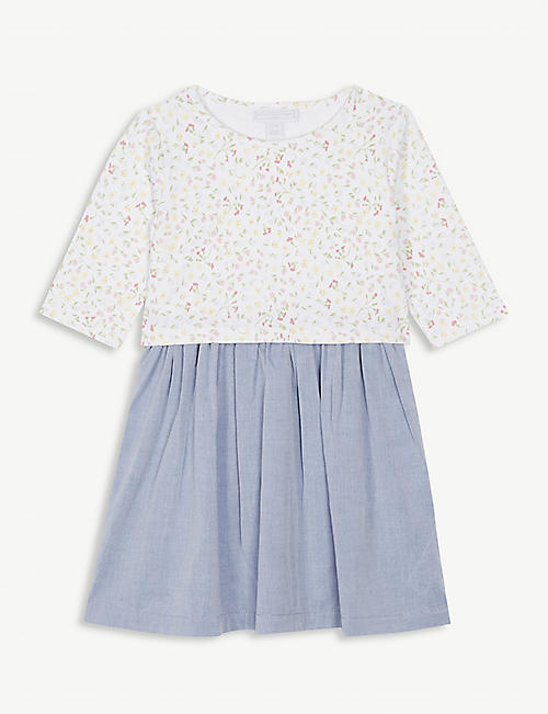 784f95ec229 THE LITTLE WHITE COMPANY Floral chambray cotton dress 1-6 years