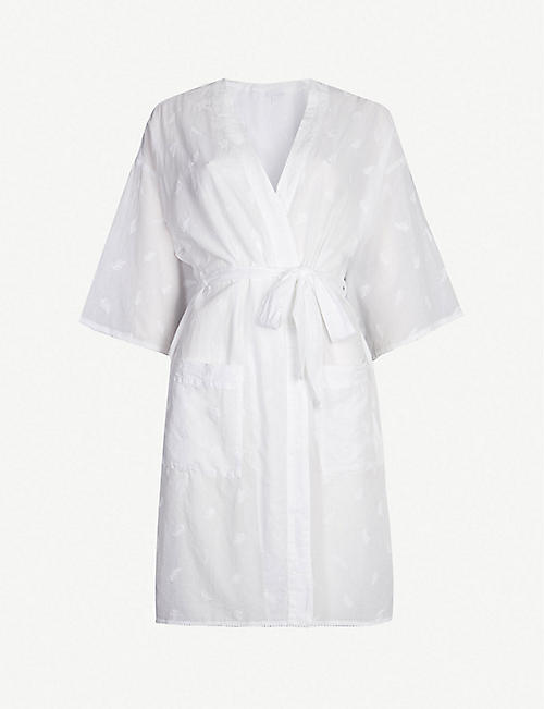 THE WHITE COMPANY Fern-embroidered cotton robe