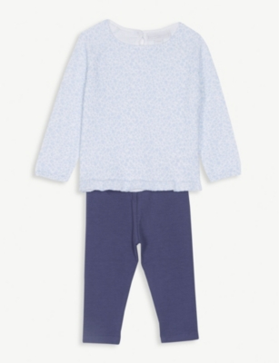 THE LITTLE WHITE COMPANY Anais floral jumper and leggings set 0-24 months