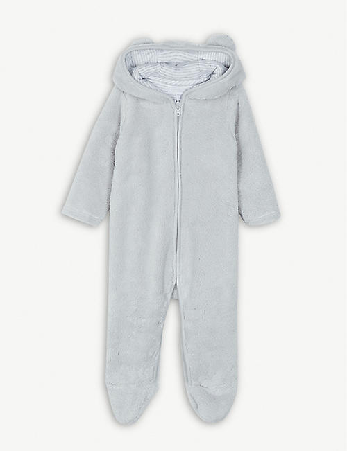 648a76231c33 THE LITTLE WHITE COMPANY Bear ears fleece romper 0-24 months