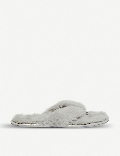 THE WHITE COMPANY Slider faux-fur slippers
