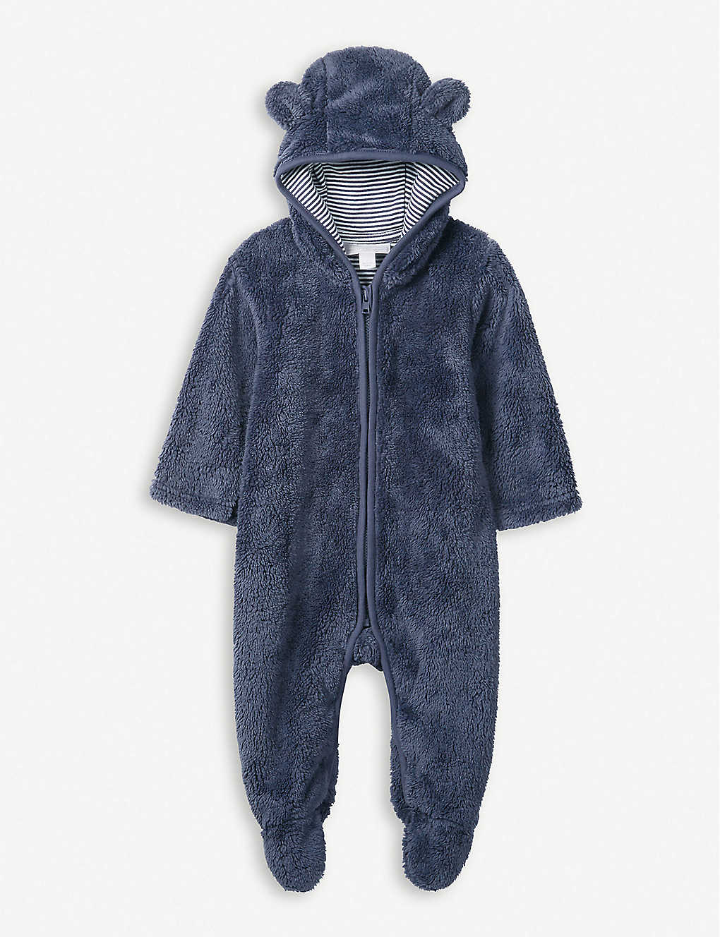THE LITTLE WHITE COMPANY: Bear ears fleece romper 0-24 months