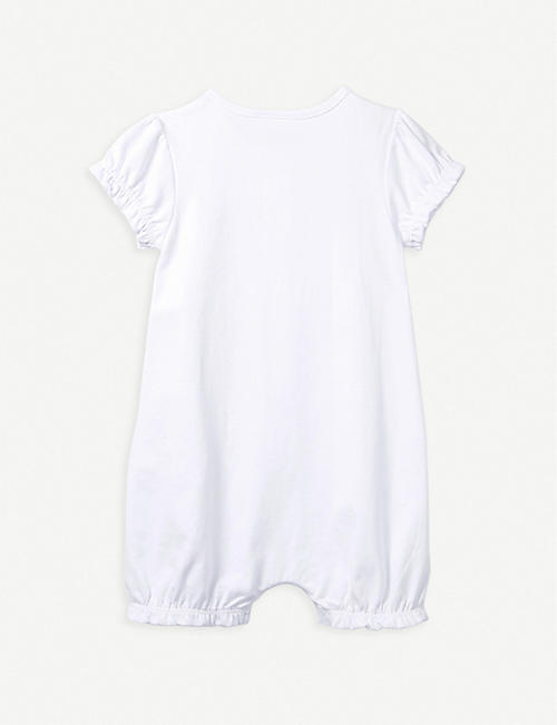 THE LITTLE WHITE COMPANY Embroidered cotton shortie sleepsuit 1-6 years