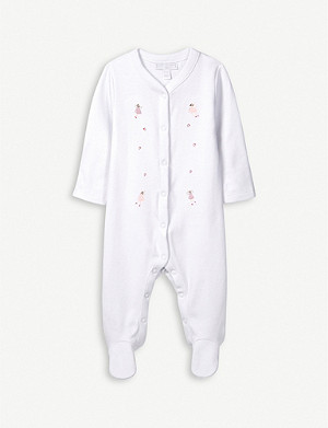 THE LITTLE WHITE COMPANY Fairy-embroidered cotton sleepsuit 0-24 months
